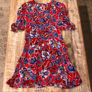Free People Red Mini Dress with Blue Florals